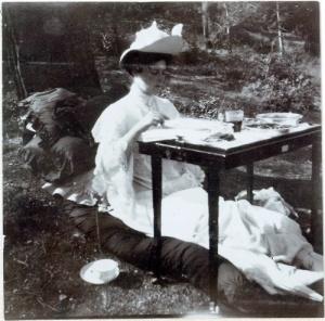 Tsarina Alexandra at tea.
