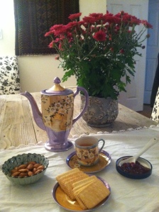 Easy Russian tea service at home, with Kusmi Bouquet of Flowers no. 108 and raspberry jam, as learned from my Russian teacher, Ms. Ezersky. September 2015